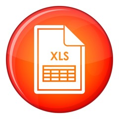File XLS icon in red circle isolated on white background vector illustration