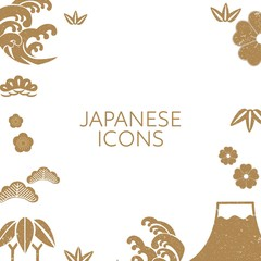 Gold Japanese icons vector. Wave, pine tree, Fuji mountain, cherry blossom flower and bamboo elements with grunge texture.