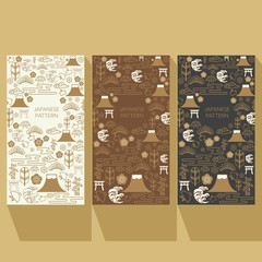 Japanese icons pattern vector. Gold line background. Packaging template design.
