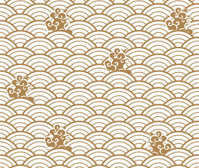Japanese wave pattern with cloud vector. Gold geometric background.