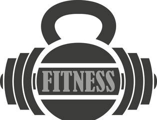 Sport club illustration. Weight lifting, text, dumbbell.