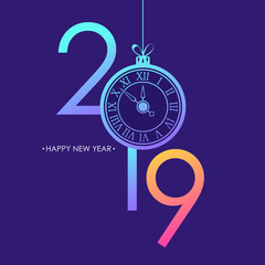 Happy New Year card with 2019 text design, trendy bright neon gradients, christmas ball and new year clock face. Vector illustration.
