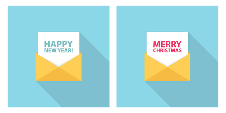 Merry Christmas and Happy New Year celebrate letter, email, sms or message. Set for holiday greetings and invitations. Flat style vector Illustration.