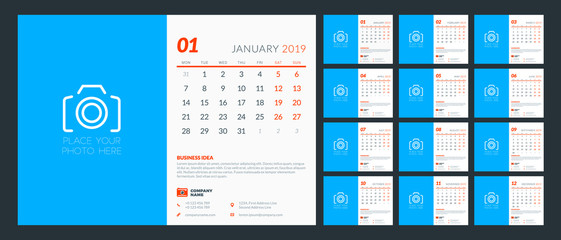 Desk calendar for 2019 year. Design template with place for photo. Week starts on Monday. Set of 12 pages and cover. Vector illustration