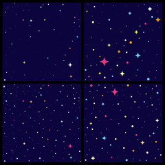 Set of night sky backround with bright stars, Vector flat style illustration