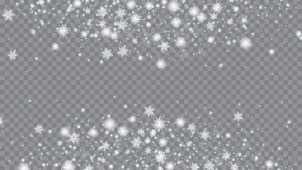 Snow Blizzard Effect. Bbright, White, Shimmer, Glowing, Scatter, Falling background. Holiday decoration Christmas banner. Transparent base.