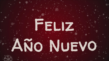 Feliz Ano Nuevo - Happy New Year in spanish language, greeting card, falling snow, red background