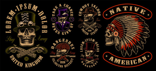 Set of designs with skulls in different styles.