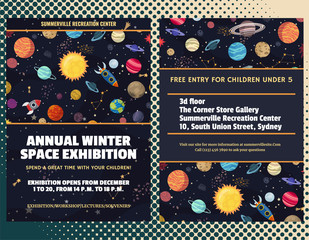 Event flyer template with cartoon cosmic theme. Vector design
