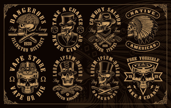 Set of vintage skulls in different styles