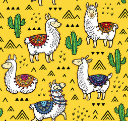 Seamless pattern of llamas, cactuses and geometric mountains.