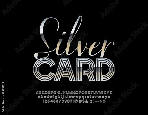 Vector chic Logo Silver Card with luxe Alphabet  Metallic gradient