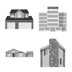 Vector design of building and front logo. Set of building and roof vector icon for stock.