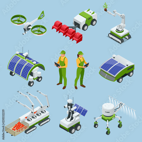 Isometric set of iot smart industry robot 4 0, robots in agriculture