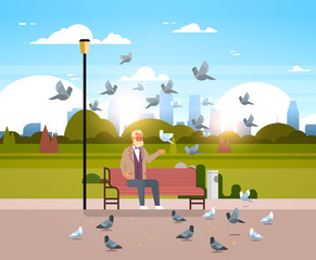 senior man feeding flock of pigeon sitting wooden bench urban city park cityscape background horizontal flat