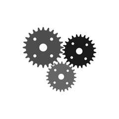 Settings gears icon vector in modern flat style for web, graphic and mobile design. Settings gears icon vector isolated on white background