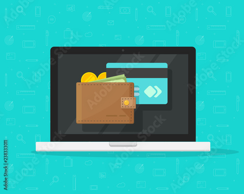 Electronic Wallet On Laptop Computer Vector Icon Flat Cartoon Design Desktop Pc Screen With Digital