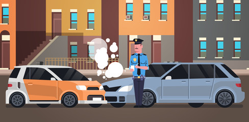 Papiers peints Cartoon voitures crashed car road accident police officer in uniform issuing report policeman writing legal fine document city buildings background flat horizontal