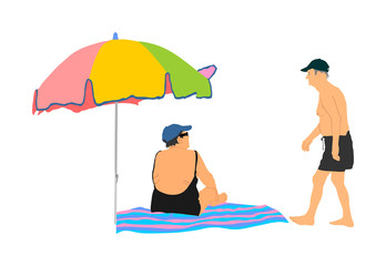 Old senior couple in love under parasol spending time on the beach vector illustration. Sunbathing summer time enjoy. Active life grandmother and grandfather. Weekend activity on sea.