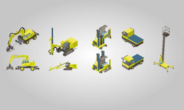5 véhicules de construction isométriques - machine de construction pour l'industrie du bâtiment vectorielle