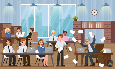 Boss Scolds Employee. Vector Flat Illustration.