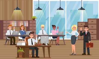 Adaptation in New Office. Vector Flat Illustration