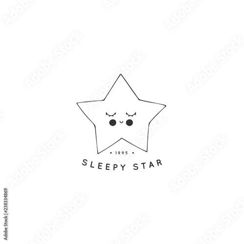 Hand Drawn Logo Template Cute Sleepy Star With Eyes Closed Stock