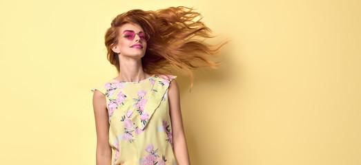 Girl having fun dance. Fashion summer outfit