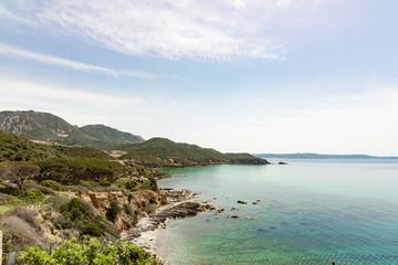 Pan di Zucchero Island from Porto Flavia Masua, Sulcis Sardinia Italy - Beach in Maditerranean Sea
