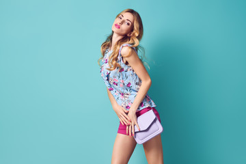 Fashion Beautiful woman in spring summer outfit