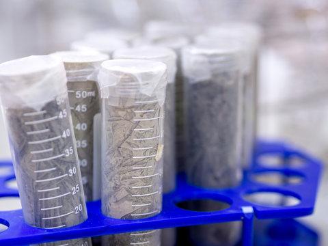 Soil sampling tube in laboratory
