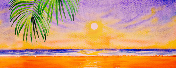 Foto auf Acrylglas Melone Colorful watercolor painting on paper of seascape.