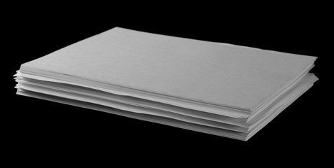 White paper for writing and printing isolated on black background