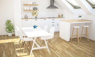 minimal luxury kitchen on attic