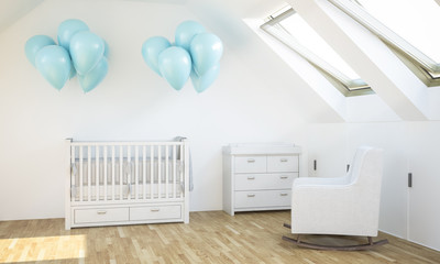 baby room with blue balloons