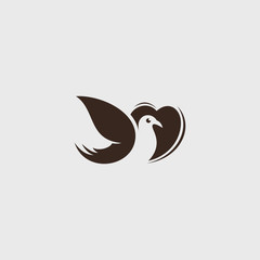 vector logo Love bird icon line art picture