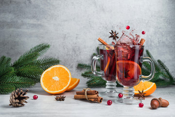 Christmas red mulled wine splash in glass