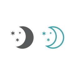 Vector symbol of the moon and stars.
