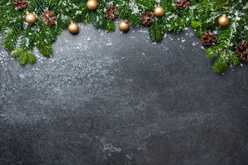 Christmas background with fir branches and decorations