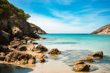 Tuinposter Kust Calasetta beach Cala during sunshine in summer Sardinia mediterranean Sea coast wonderful seaside