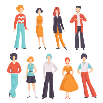 Collection of young men and women wearing vintage clothing, retro fashion people from 70s vector Illustration on a white background