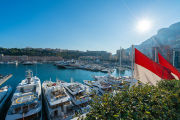Wall Mural - View on port with luxury yachts, Principality of Monaco, French Riviera coast, Cote d'Azur, France