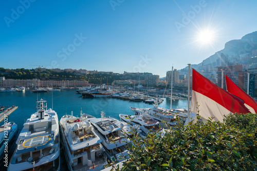 Wall mural View on port with luxury yachts, Principality of Monaco, French Riviera coast, Cote d'Azur, France