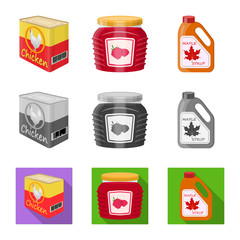 Isolated object of can and food symbol. Collection of can and package stock symbol for web.