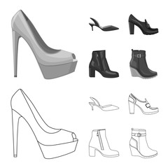Vector illustration of footwear and woman icon. Set of footwear and foot stock symbol for web.