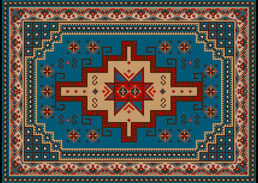 Luxury vintage oriental carpet with blue, red, brown,yellow and beige shades on black background