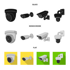 Vector design of cctv and camera symbol. Set of cctv and system vector icon for stock.