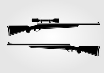 Two rifles isolated on white background. Vector illustration.