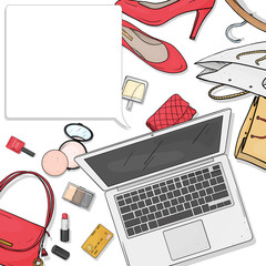 Online store desktop concept with laptop, Desk, bags, credit cards, cosmetics and shoes. Credit card payment. The view from the top. Mock up. Template.