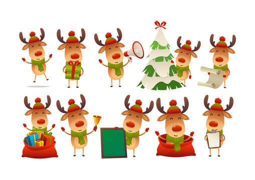 Collection of happy cute Christmas reindeer isolated vector